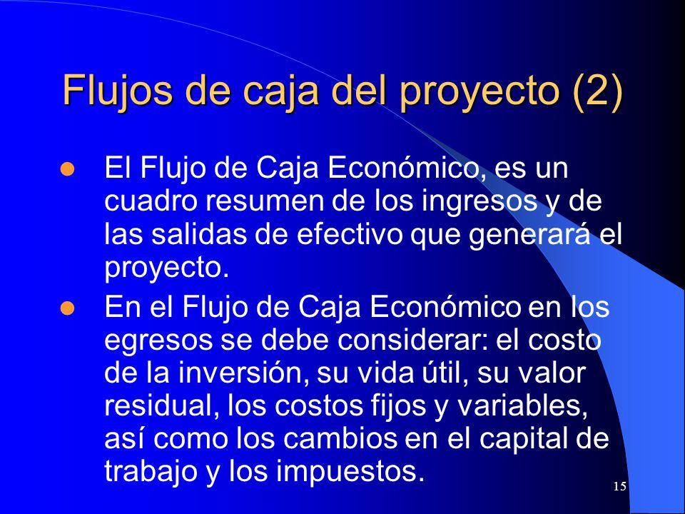 15 Flujos de caja del proyecto (2) El Flujo de Caja Económico, es un cuadro resumen de los ingresos y de las salidas de efectivo que generará el proyecto.