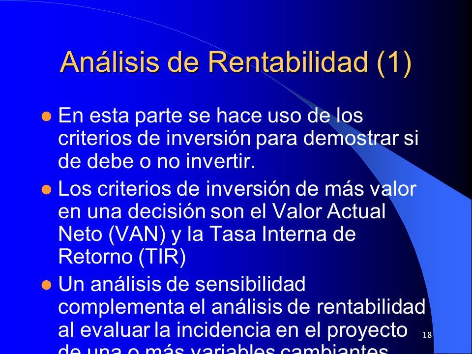 18 Análisis de Rentabilidad (1) En esta parte se hace uso de los criterios de inversión para demostrar si de debe o no invertir.