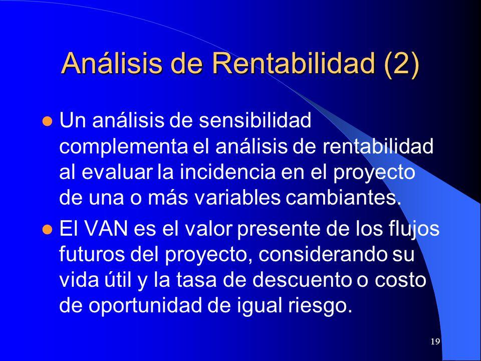 19 Análisis de Rentabilidad (2) Un análisis de sensibilidad complementa el análisis de rentabilidad al evaluar la incidencia en el proyecto de una o más variables cambiantes.