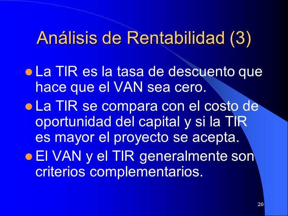 20 Análisis de Rentabilidad (3) La TIR es la tasa de descuento que hace que el VAN sea cero.