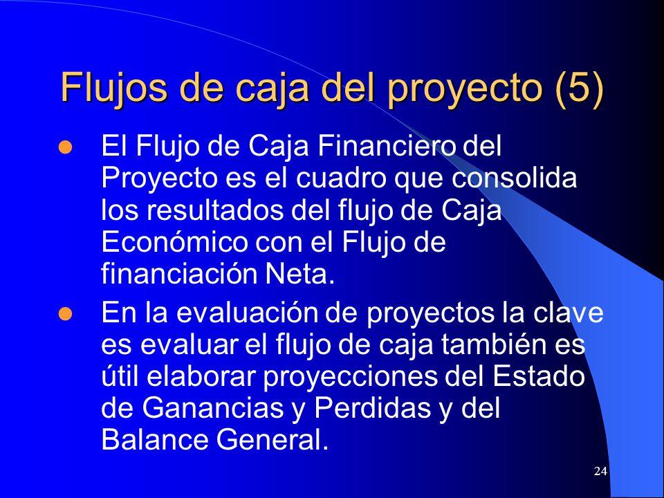 24 Flujos de caja del proyecto (5) El Flujo de Caja Financiero del Proyecto es el cuadro que consolida los resultados del flujo de Caja Económico con el Flujo de financiación Neta.