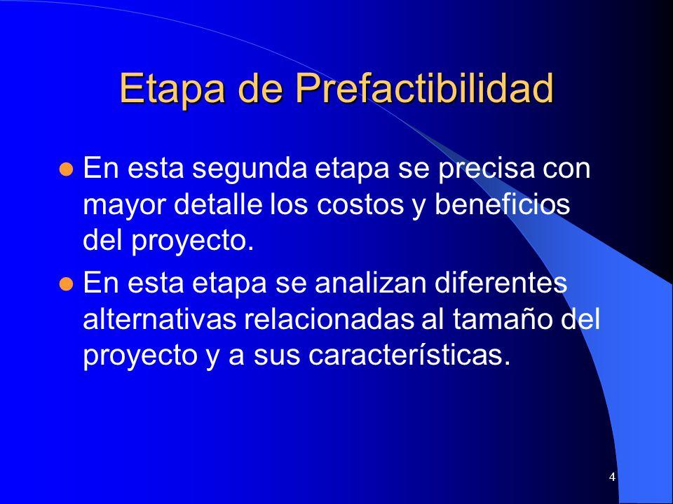 4 Etapa de Prefactibilidad En esta segunda etapa se precisa con mayor detalle los costos y beneficios del proyecto.