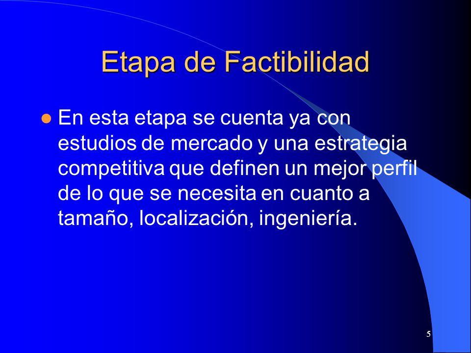 5 Etapa de Factibilidad En esta etapa se cuenta ya con estudios de mercado y una estrategia competitiva que definen un mejor perfil de lo que se necesita en cuanto a tamaño, localización, ingeniería.