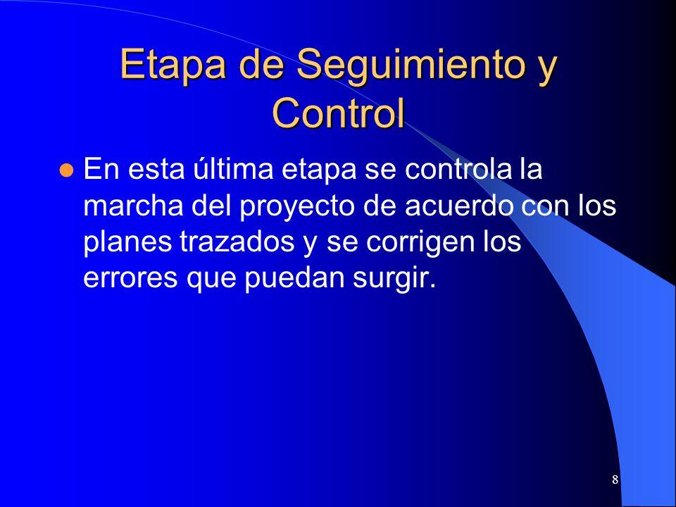 8 Etapa de Seguimiento y Control En esta última etapa se controla la marcha del proyecto de acuerdo con los planes trazados y se corrigen los errores que puedan surgir.