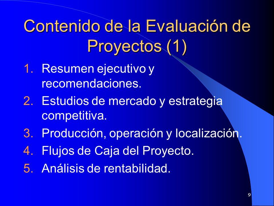 9 Contenido de la Evaluación de Proyectos (1) 1.Resumen ejecutivo y recomendaciones.