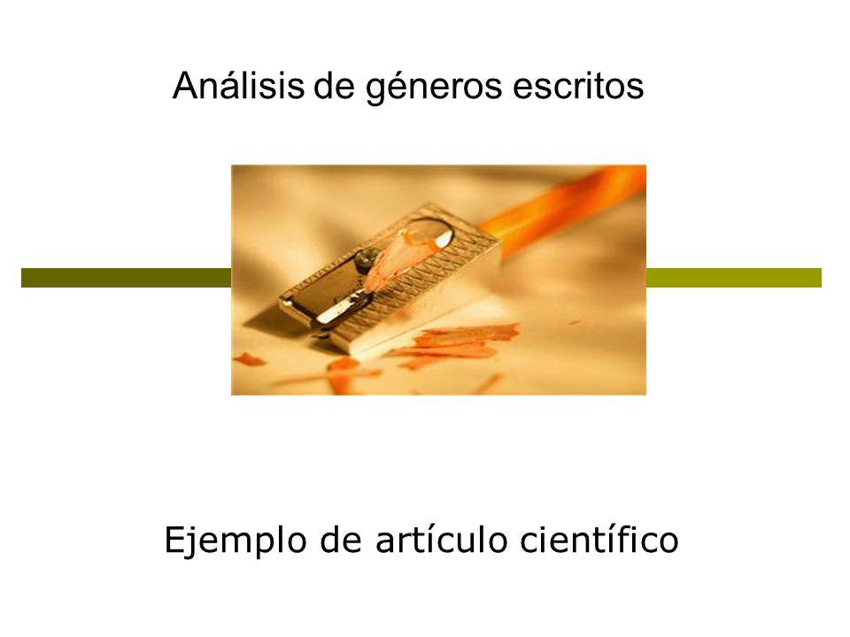 Ejemplo de artículo científico Análisis de géneros escritos