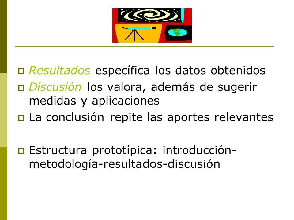 Resultados específica los datos obtenidos  Discusión los valora, además de sugerir medidas y aplicaciones  La conclusión repite las aportes relevantes  Estructura prototípica: introducción- metodología-resultados-discusión