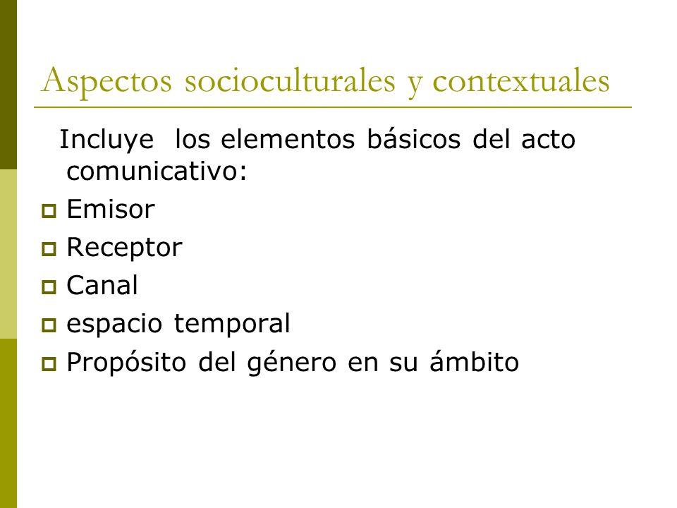 Aspectos socioculturales y contextuales Incluye los elementos básicos del acto comunicativo:  Emisor  Receptor  Canal  espacio temporal  Propósito del género en su ámbito