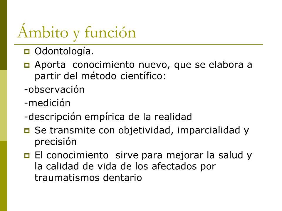 Ámbito y función  Odontología.