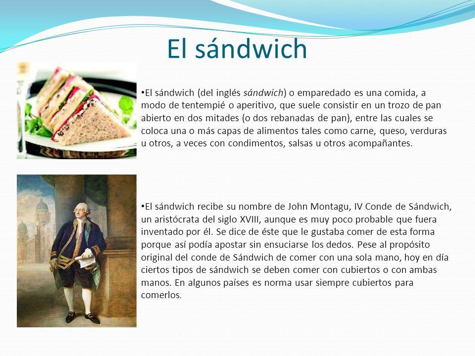 El sándwich El sándwich (del inglés sándwich) o emparedado es una comida, a modo de tentempié o aperitivo, que suele consistir en un trozo de pan abie