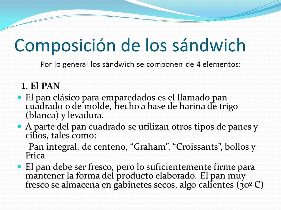 Composición de los sándwich Por lo general los sándwich se componen de 4 elementos: 1. El PAN El pan clásico para emparedados es el llamado pan cuadra