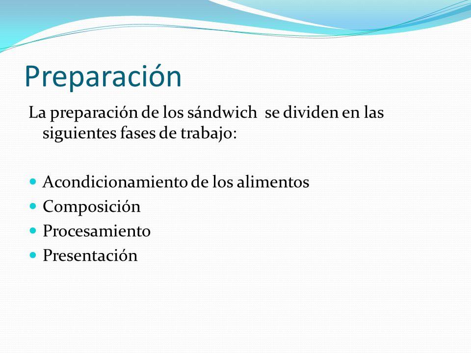 Preparación La preparación de los sándwich se dividen en las siguientes fases de trabajo: Acondicionamiento de los alimentos Composición Procesamiento