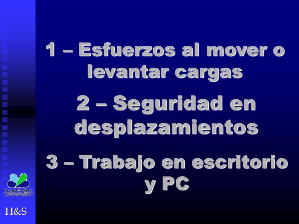 1 – Esfuerzos al mover o levantar cargas H&S 2 – Seguridad en desplazamientos 3 – Trabajo en escritorio y PC