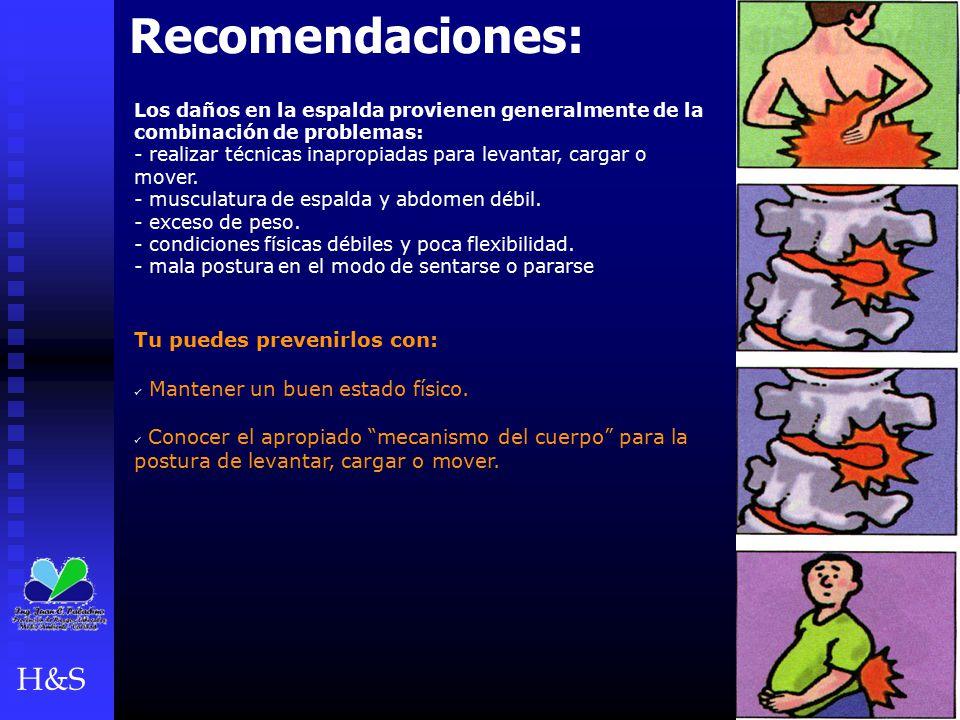 Recomendaciones: Los daños en la espalda provienen generalmente de la combinación de problemas: - realizar técnicas inapropiadas para levantar, cargar