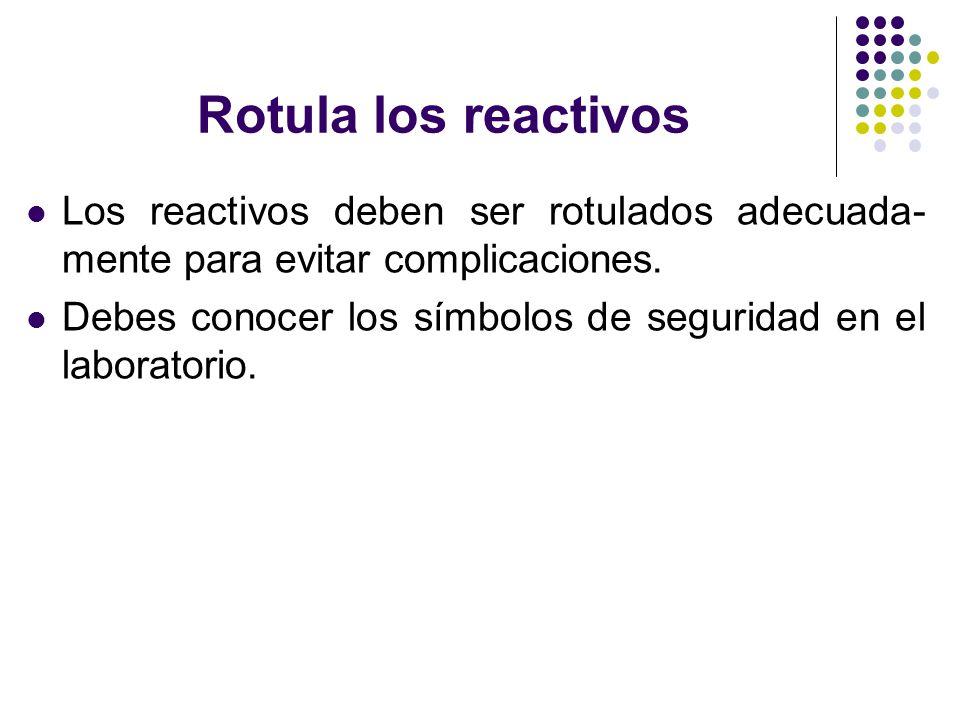 Rotula los reactivos Los reactivos deben ser rotulados adecuada- mente para evitar complicaciones. Debes conocer los símbolos de seguridad en el labor