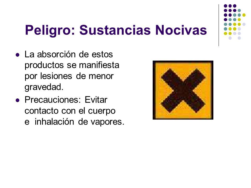 Peligro: Sustancias Nocivas La absorción de estos productos se manifiesta por lesiones de menor gravedad. Precauciones: Evitar contacto con el cuerpo