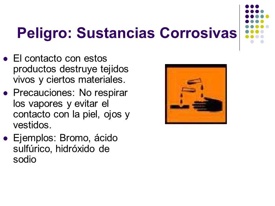 Peligro: Sustancias Corrosivas El contacto con estos productos destruye tejidos vivos y ciertos materiales. Precauciones: No respirar los vapores y ev