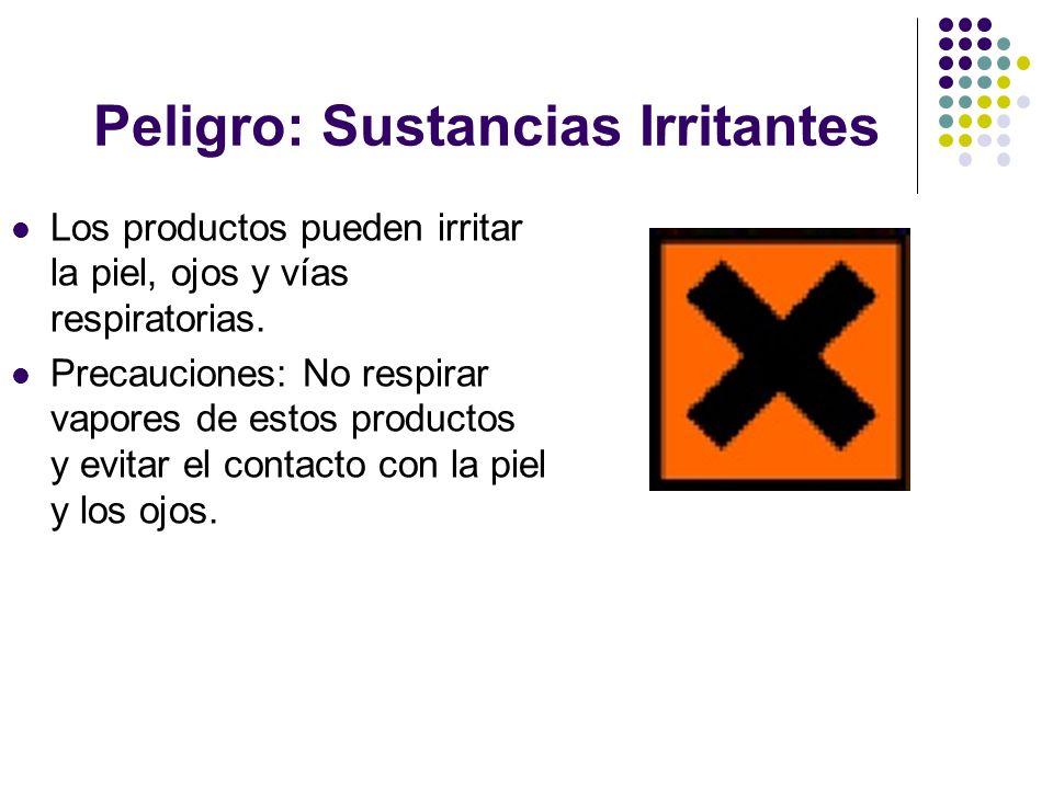 Peligro: Sustancias Irritantes Los productos pueden irritar la piel, ojos y vías respiratorias. Precauciones: No respirar vapores de estos productos y