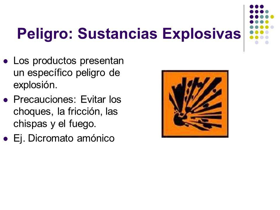 Peligro: Sustancias Explosivas Los productos presentan un específico peligro de explosión. Precauciones: Evitar los choques, la fricción, las chispas