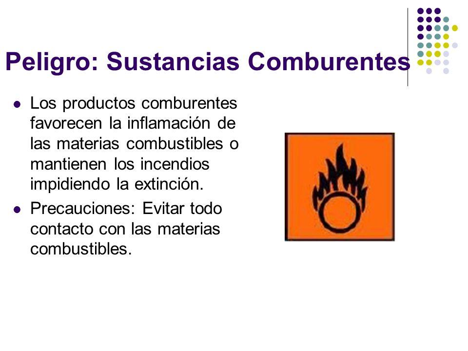 Peligro: Sustancias Comburentes Los productos comburentes favorecen la inflamación de las materias combustibles o mantienen los incendios impidiendo l