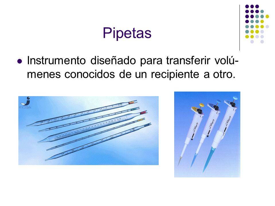 Pipetas Instrumento diseñado para transferir volú- menes conocidos de un recipiente a otro.