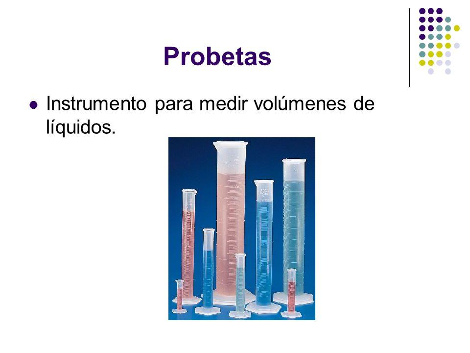 Probetas Instrumento para medir volúmenes de líquidos.