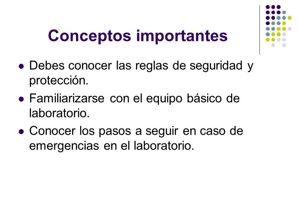 Conceptos importantes Debes conocer las reglas de seguridad y protección. Familiarizarse con el equipo básico de laboratorio. Conocer los pasos a segu