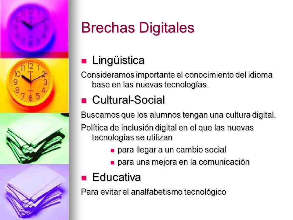 Brechas Digitales Lingüistica Lingüistica Consideramos importante el conocimiento del idioma base en las nuevas tecnologías. Cultural-Social Cultural-