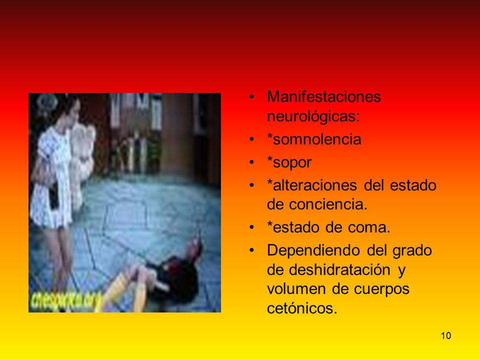 10 Manifestaciones neurológicas: *somnolencia *sopor *alteraciones del estado de conciencia. *estado de coma. Dependiendo del grado de deshidratación