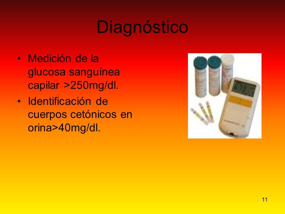 11 Diagnóstico Medición de la glucosa sanguínea capilar >250mg/dl. Identificación de cuerpos cetónicos en orina>40mg/dl.