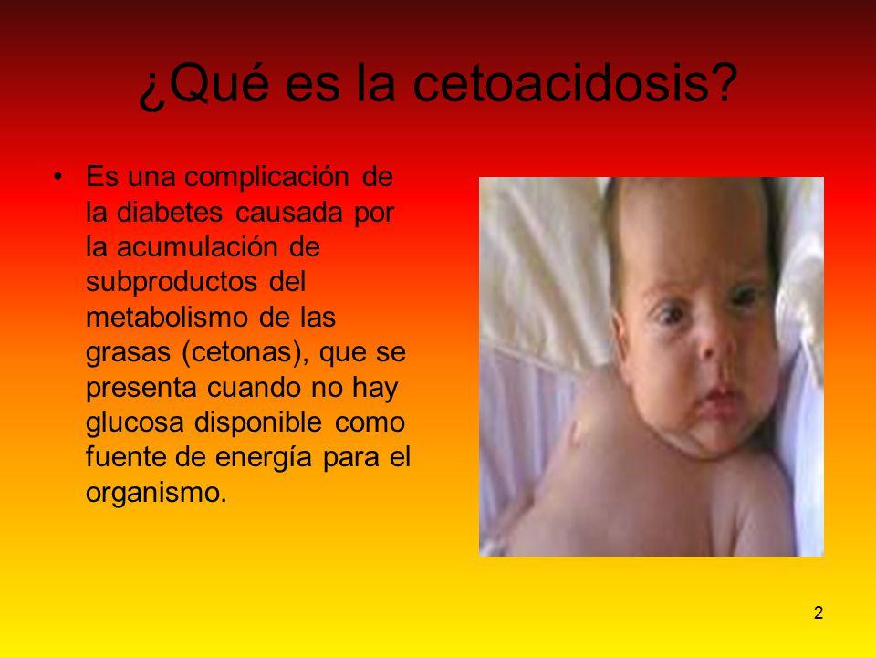2 ¿Qué es la cetoacidosis? Es una complicación de la diabetes causada por la acumulación de subproductos del metabolismo de las grasas (cetonas), que