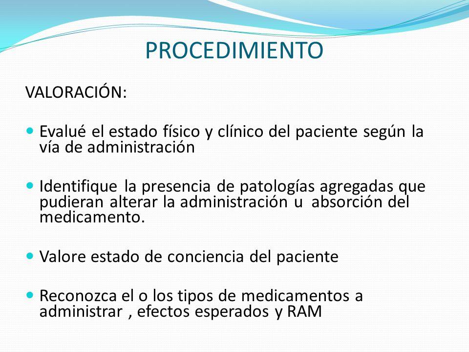 PROCEDIMIENTO VALORACIÓN: Evalué el estado físico y clínico del paciente según la vía de administración Identifique la presencia de patologías agregad
