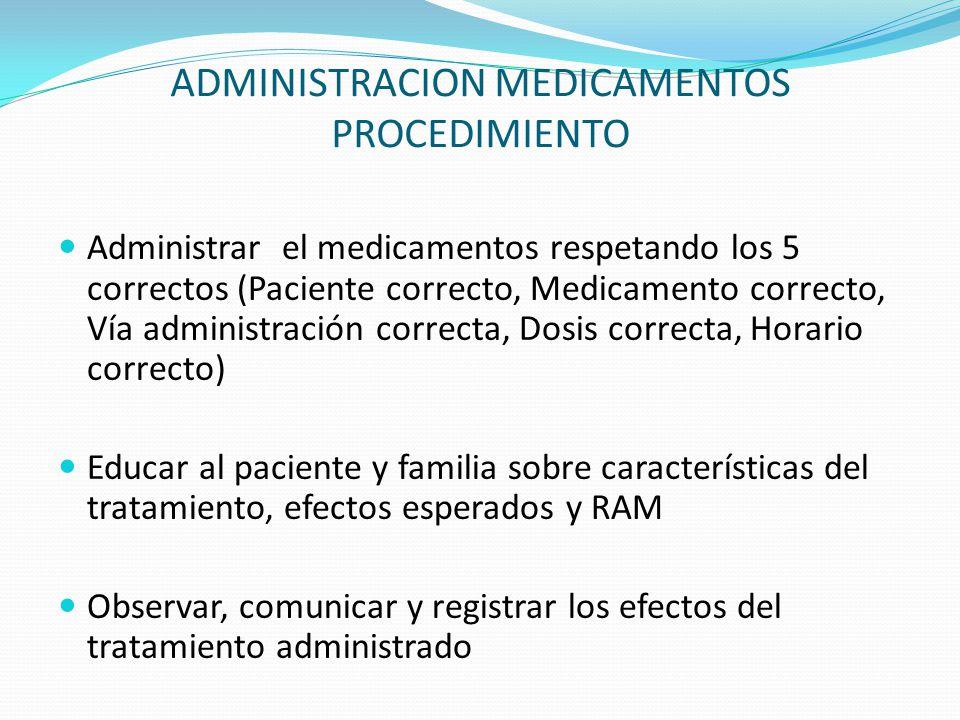 ADMINISTRACION MEDICAMENTOS PROCEDIMIENTO Administrar el medicamentos respetando los 5 correctos (Paciente correcto, Medicamento correcto, Vía adminis