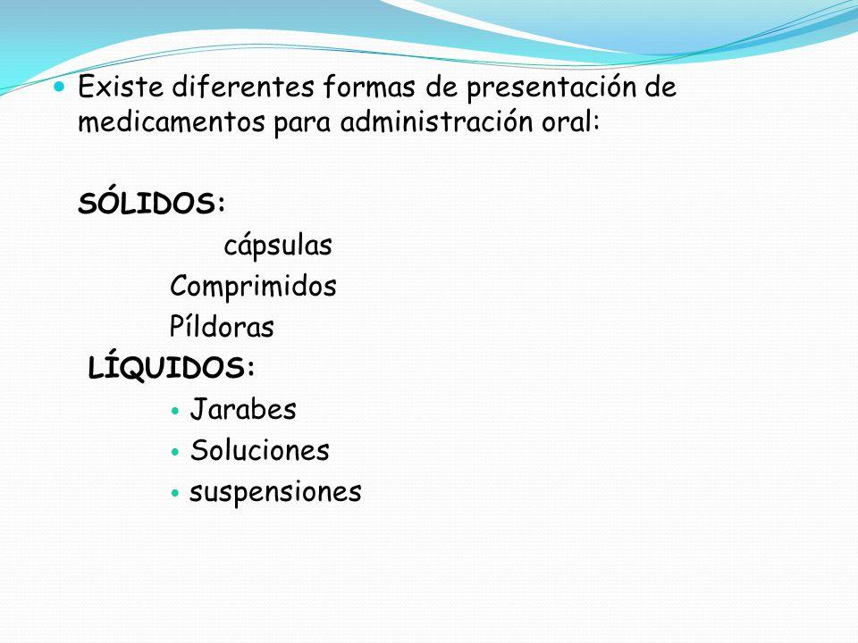 Existe diferentes formas de presentación de medicamentos para administración oral: SÓLIDOS: cápsulas Comprimidos Píldoras LÍQUIDOS: Jarabes Soluciones suspensiones