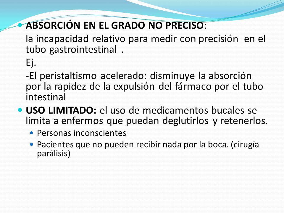 ABSORCIÓN EN EL GRADO NO PRECISO: la incapacidad relativo para medir con precisión en el tubo gastrointestinal. Ej. -El peristaltismo acelerado: dismi