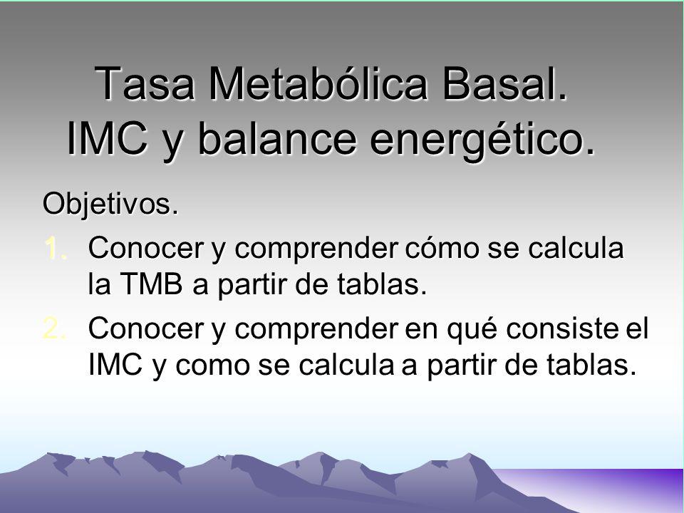 Tasa Metabólica Basal. IMC y balance energético. Objetivos. 1.Conocer y comprender cómo se calcula la TMB a partir de tablas. 2.Conocer y comprender e
