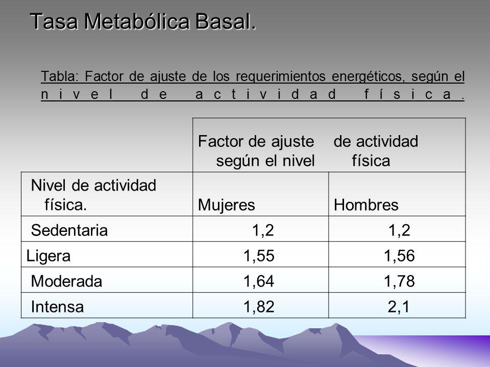 Tasa Metabólica Basal. Tabla: Factor de ajuste de los requerimientos energéticos, según el nivel de actividad física. Factor de ajuste según el nivel