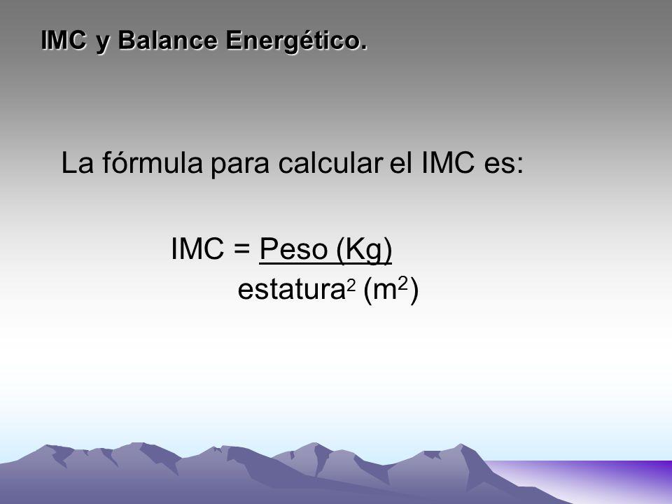 IMC y Balance Energético. La fórmula para calcular el IMC es: IMC = Peso (Kg) estatura 2 (m 2 )