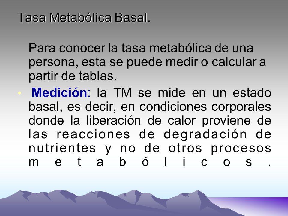 Tasa Metabólica Basal. Para conocer la tasa metabólica de una persona, esta se puede medir o calcular a partir de tablas. Medición: la TM se mide en u