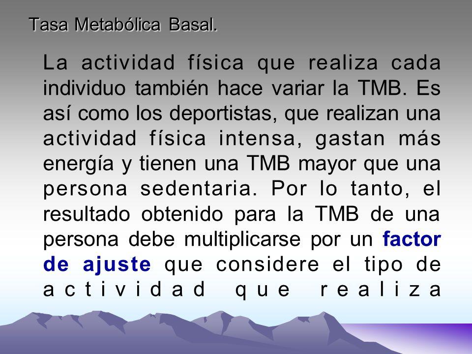 Tasa Metabólica Basal. La actividad física que realiza cada individuo también hace variar la TMB. Es así como los deportistas, que realizan una activi