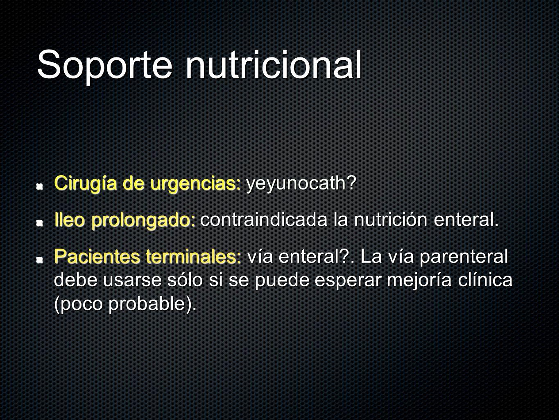 Soporte nutricional Cirugía de urgencias: yeyunocath? Ileo prolongado: contraindicada la nutrición enteral. Pacientes terminales: vía enteral?. La vía