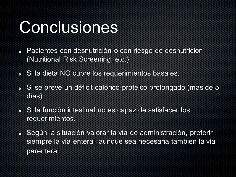 Conclusiones Pacientes con desnutrición o con riesgo de desnutrición (Nutritional Risk Screening, etc.) Si la dieta NO cubre los requerimientos basale