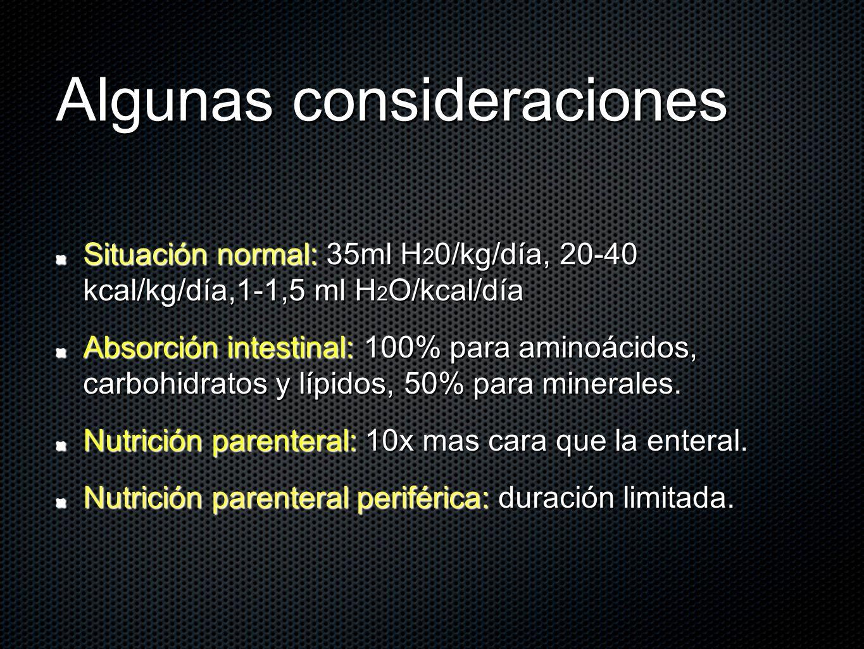 Algunas consideraciones Situación normal: 35ml H 2 0/kg/día, 20-40 kcal/kg/día,1-1,5 ml H 2 O/kcal/día Absorción intestinal: 100% para aminoácidos, ca