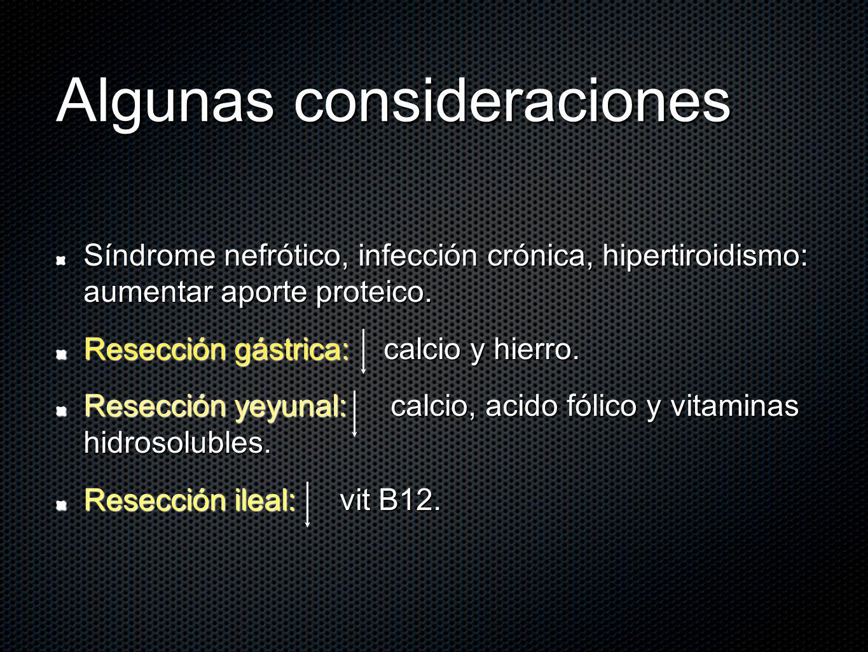 Algunas consideraciones Síndrome nefrótico, infección crónica, hipertiroidismo: aumentar aporte proteico. Resección gástrica: calcio y hierro. Resecci