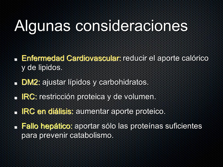Algunas consideraciones Enfermedad Cardiovascular: reducir el aporte calórico y de lipidos. DM2: ajustar lípidos y carbohidratos. IRC: restricción pro