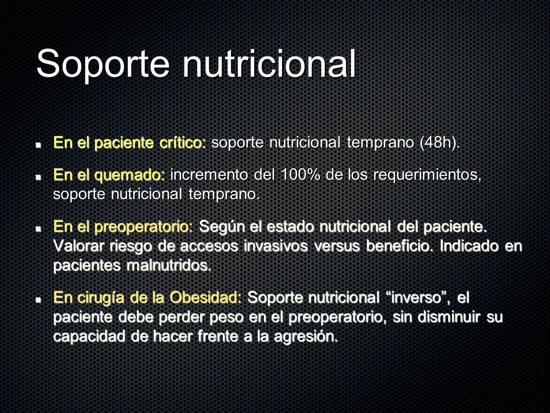 Soporte nutricional En el paciente crítico: soporte nutricional temprano (48h). En el quemado: incremento del 100% de los requerimientos, soporte nutr