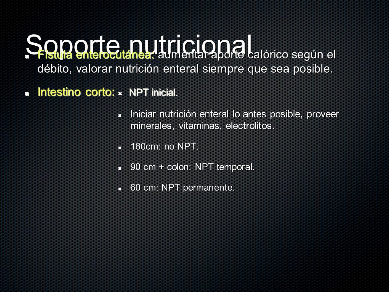 Soporte nutricional Fístula enterocutánea: aumentar aporte calórico según el débito, valorar nutrición enteral siempre que sea posible. Intestino cort