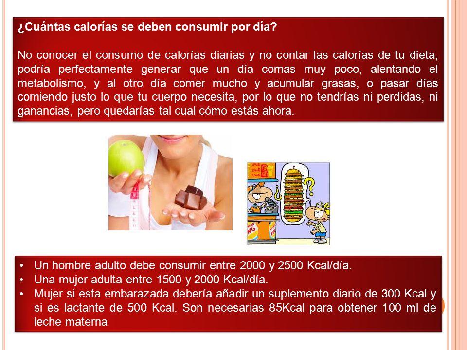 ¿Cuántas calorías se deben consumir por día? No conocer el consumo de calorías diarias y no contar las calorías de tu dieta, podría perfectamente gene