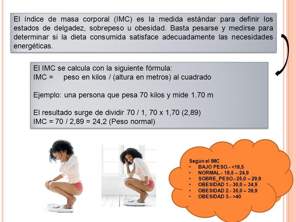 El índice de masa corporal (IMC) es la medida estándar para definir los estados de delgadez, sobrepeso u obesidad. Basta pesarse y medirse para determ