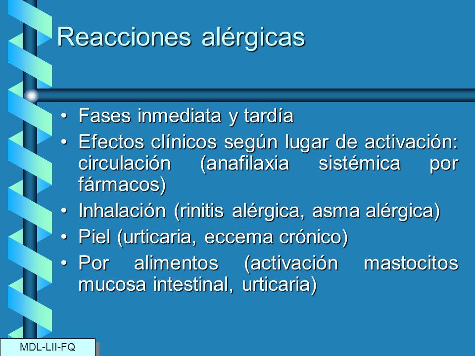 Reacciones alérgicas Fases inmediata y tardíaFases inmediata y tardía Efectos clínicos según lugar de activación: circulación (anafilaxia sistémica po